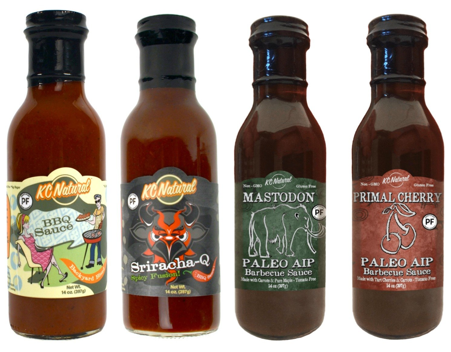 Certified Paleo BBQ Sauce Sampler Pack, Four Flavors, 14 oz each