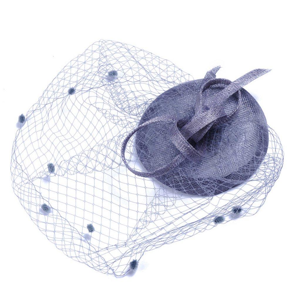 Aiklin Damen Hochzeit Fascinator Hut mit Netzschleier
