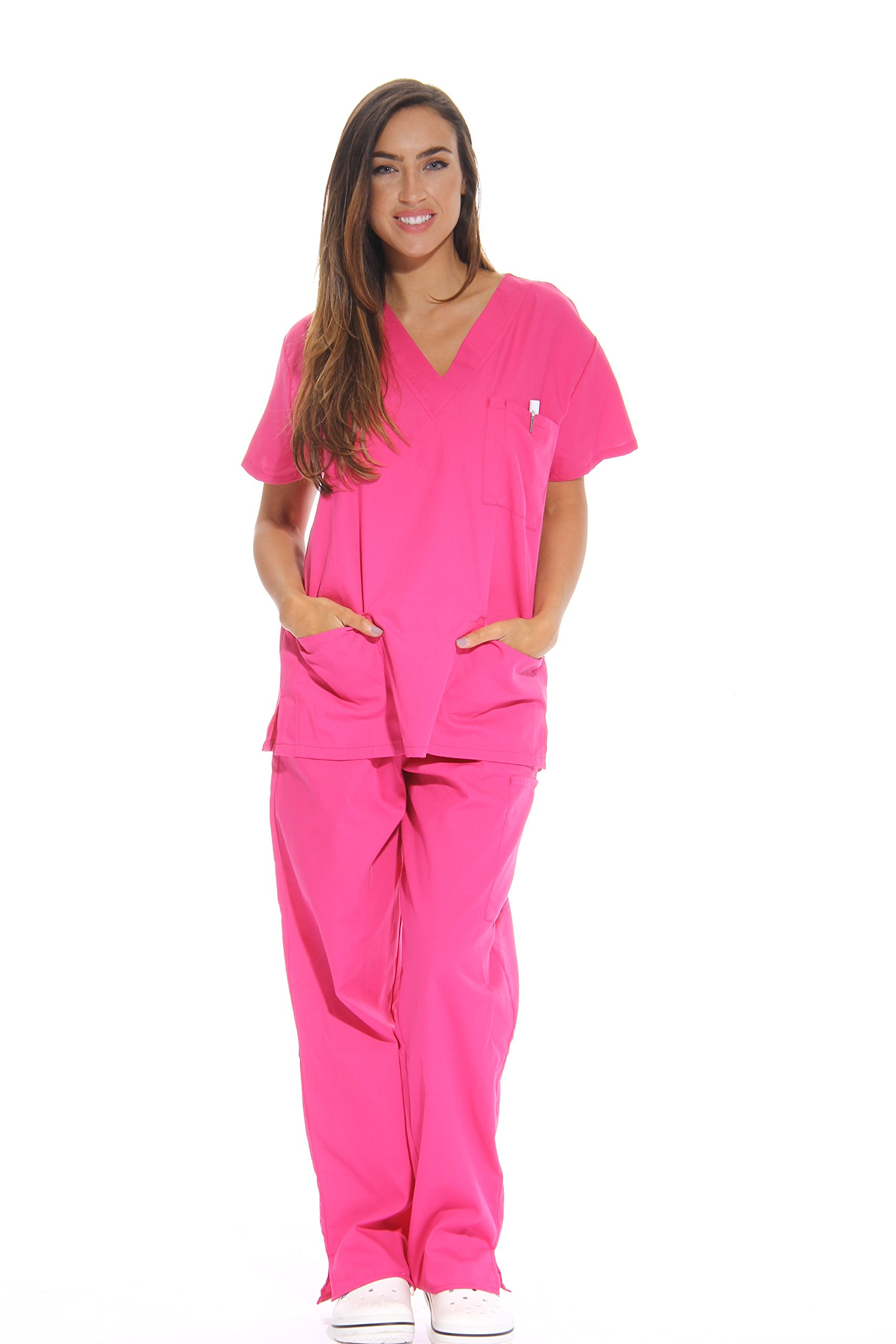 Just Love Women's Scrub Sets Six Pocket Medical Scrubs (V-Neck With Cargo Pant), Fuchsia, Small