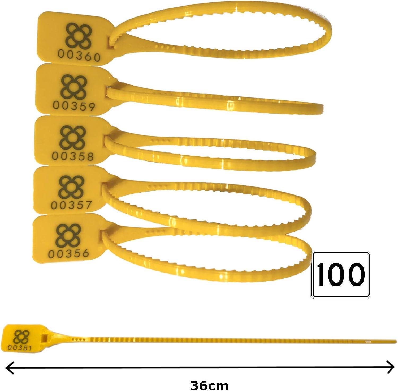 PRECINTO DE SEGURIDAD 100 unidades | LARGO: 36cm Precintos numerados Muy Reforzados | Bridas de plastico AJUSTABLES para Logistica Transporte Maletas Camiones u otros usos.