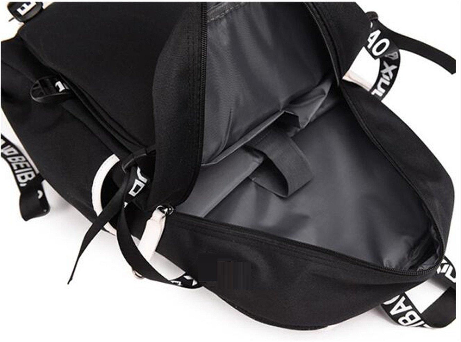 JUSTGOGO Luminous Korean Casual Daypack Laptop Bag College Bag Book Bag School Bag Backpack (Black 1) by JUSTGOGO (Image #6)