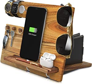 Wood Phone Docking Station Nightstand Organizer Wooden Bedside Cell Wallet Key Dock Men Birthday Gifts Table Tablet Desk Holder for iPhone AirPods iWatch iPad Apple Watch Charging Stand Walnut