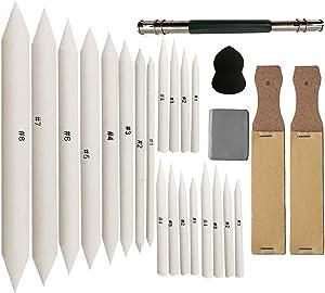 Meikeer 20 Pieces Blending Stumps and Tortillions Set with 2 Pieces Sandpaper Pencil Sharpener, 1 Pencil Extension Tool, 1 Eraser,Sponge Sketch,for Student Sketch Drawing kit