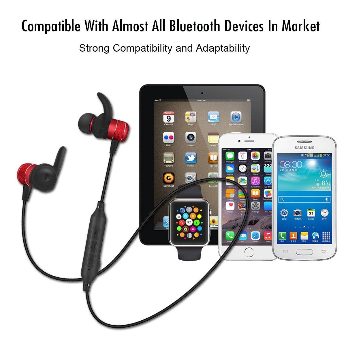 Auriculares Bluetooth deporte, Borofone BE5 Inálambrico Auricular con Imán Magnético, APTX y manos libres Mic incorporado, Calificación IPX4 A Prueba de ...