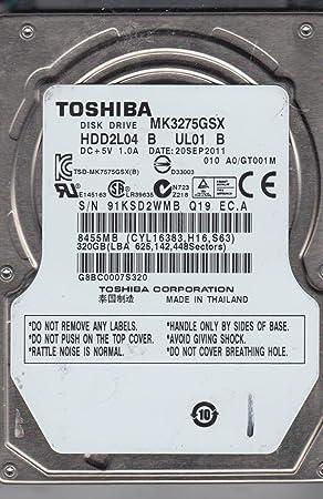 "010 A0//GT001M Laptop 320GB 2.5/"" SATA HDD Toshiba MK3275GSX HDD2L04 B UL01 S"