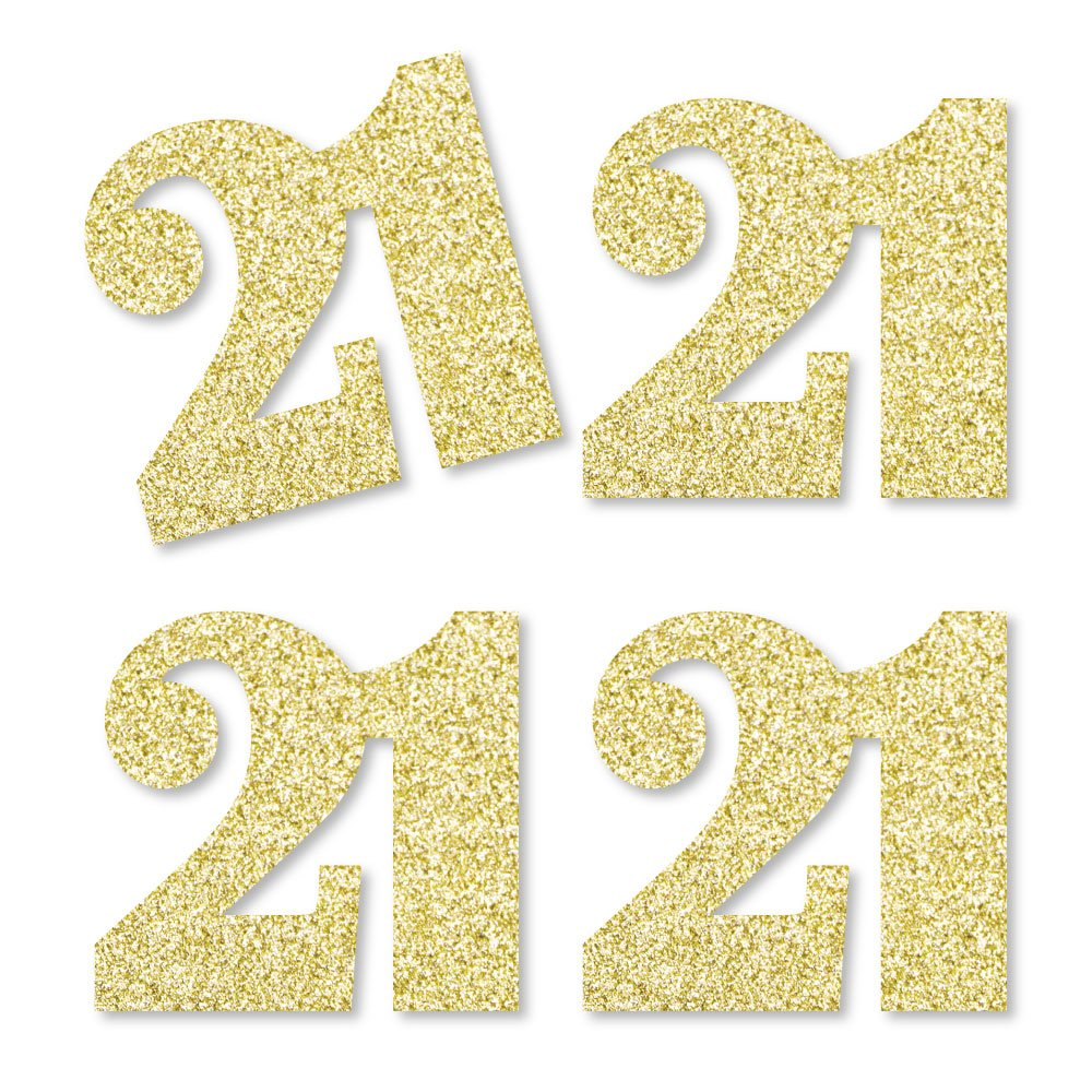 Gold Glitter 21 - No-Mess Real Gold Glitter Cut-Out Numbers - 21st Birthday Party Confetti - Set of 24 by Big Dot of Happiness