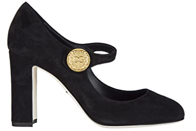Dolce Gabbana women 's suede pumps court shoes high heel Mary Jane black B075CS8WRN