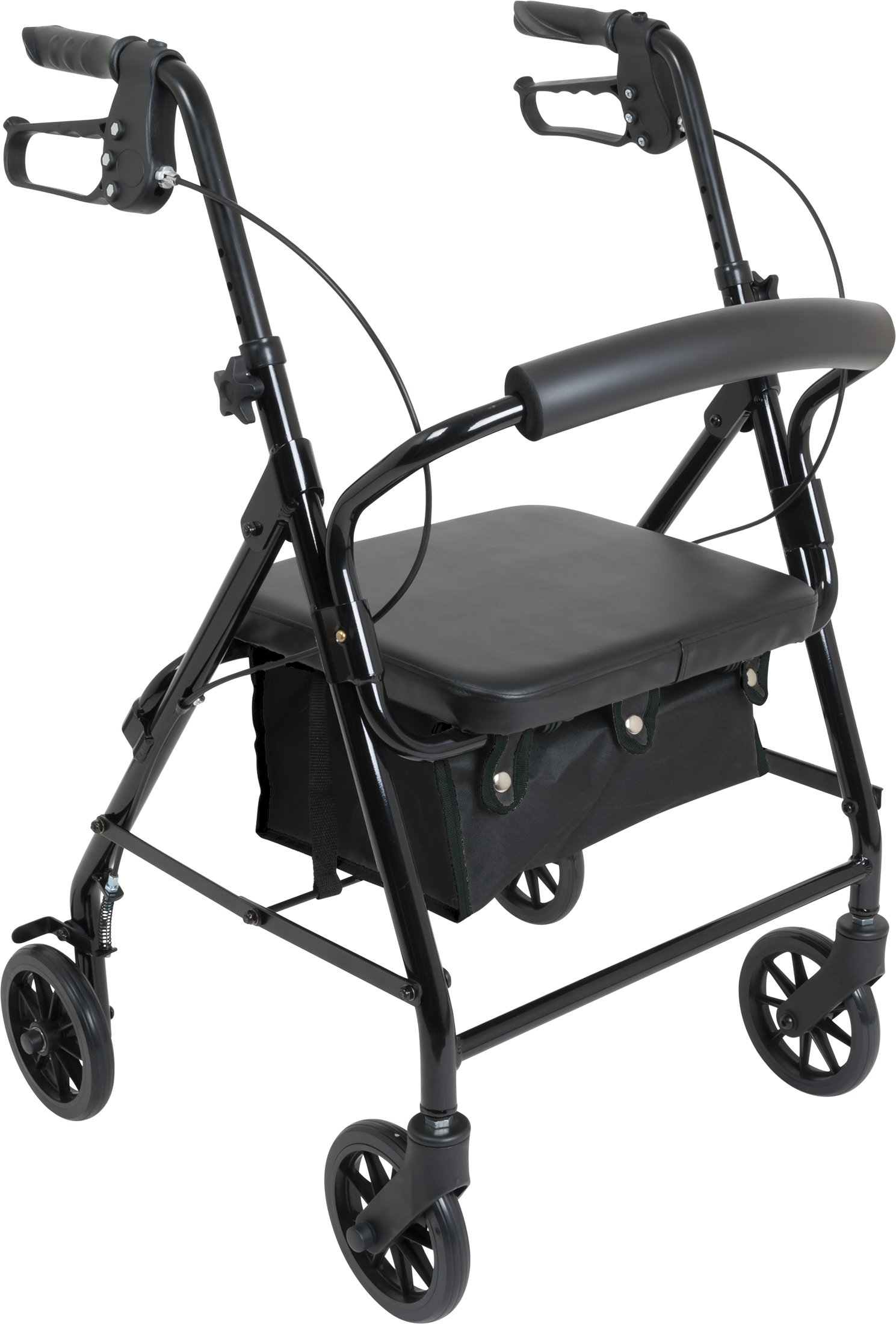 Probasics Aluminum Low Profile Rollator for Shorter Individuals, 6 in wheels, 250 Pound Weight Capacity, Black