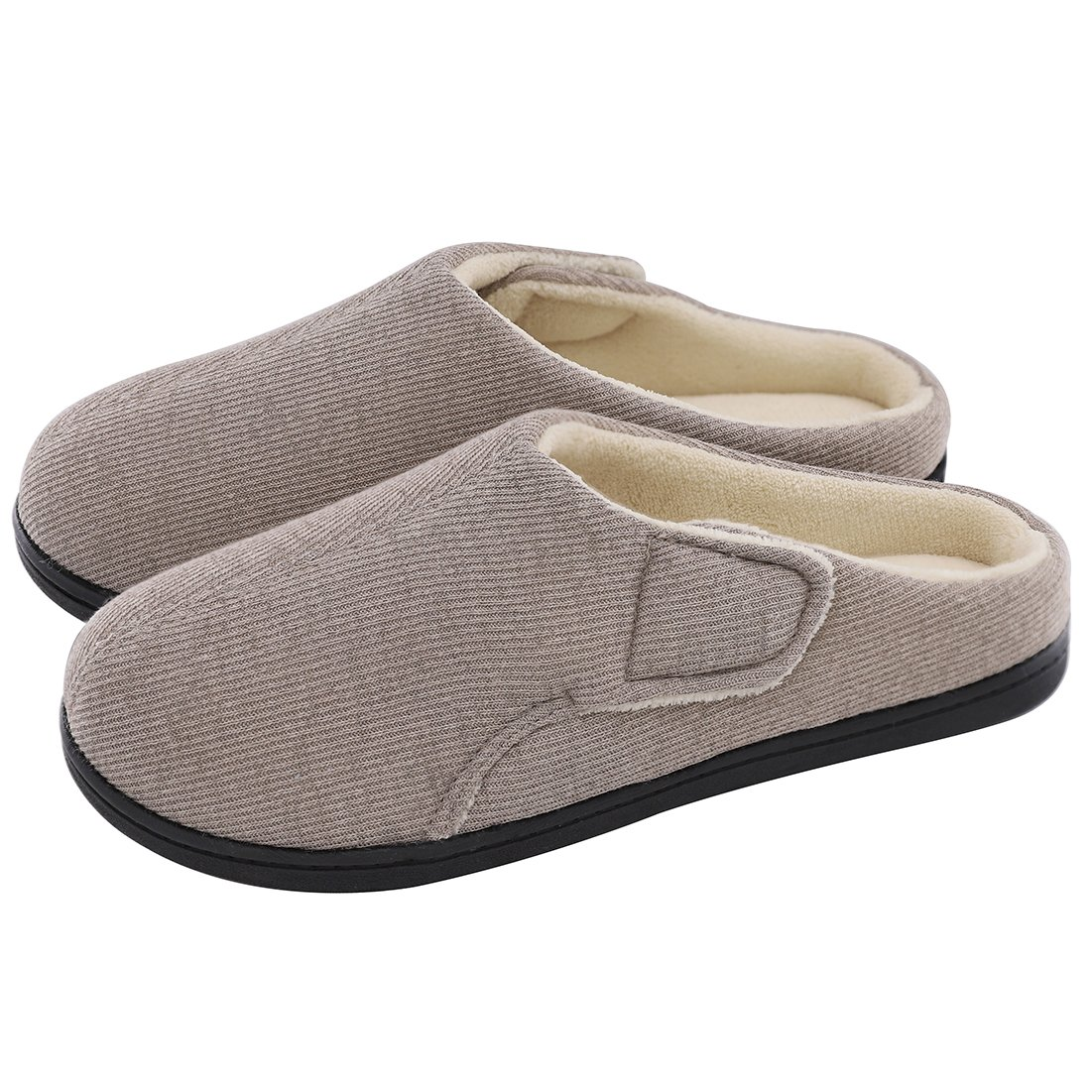 ULTRAIDEAS Women's Comfort Memory Foam Terry Cloth Slippers House Slippers with Adjustable Flap Closure