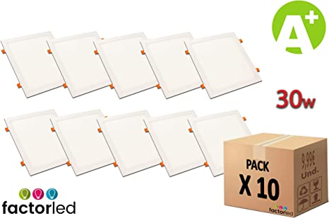 FactorLED Pack x10 Placa LED Slim Cuadrada 30W, Downlight ...