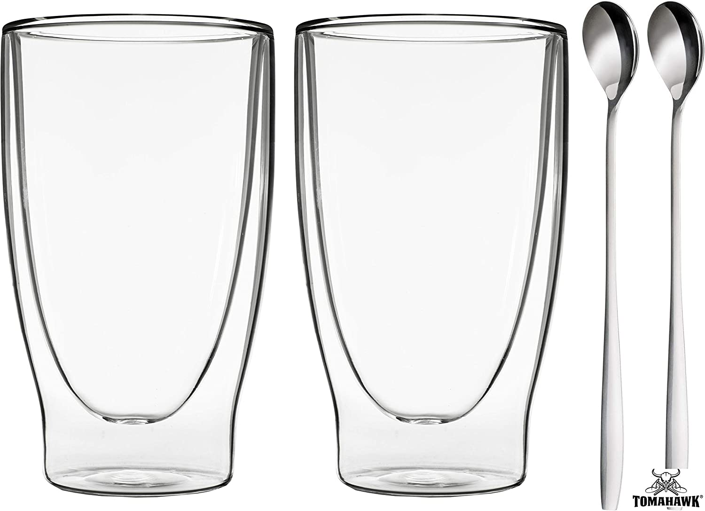 Eistee DUOS 2X 400ml doppelwandige Gl/äser Set Thermogl/äser mit Schwebe-Effekt by Feelino Cocktails geeignet auch f/ür Latte Macchiato S/äfte 2 L/öffel Longdrinks