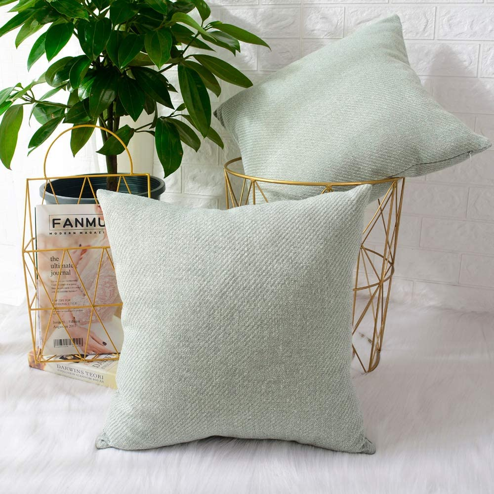 MERNETTE New Year/Christmas Decorations Chenille Soft Decorative Square Throw Pillow Cover Cushion Covers Pillowcase, Home Decor for Party/Xmas 18x18 Inch/45x45 cm, Light Green, Set of 2