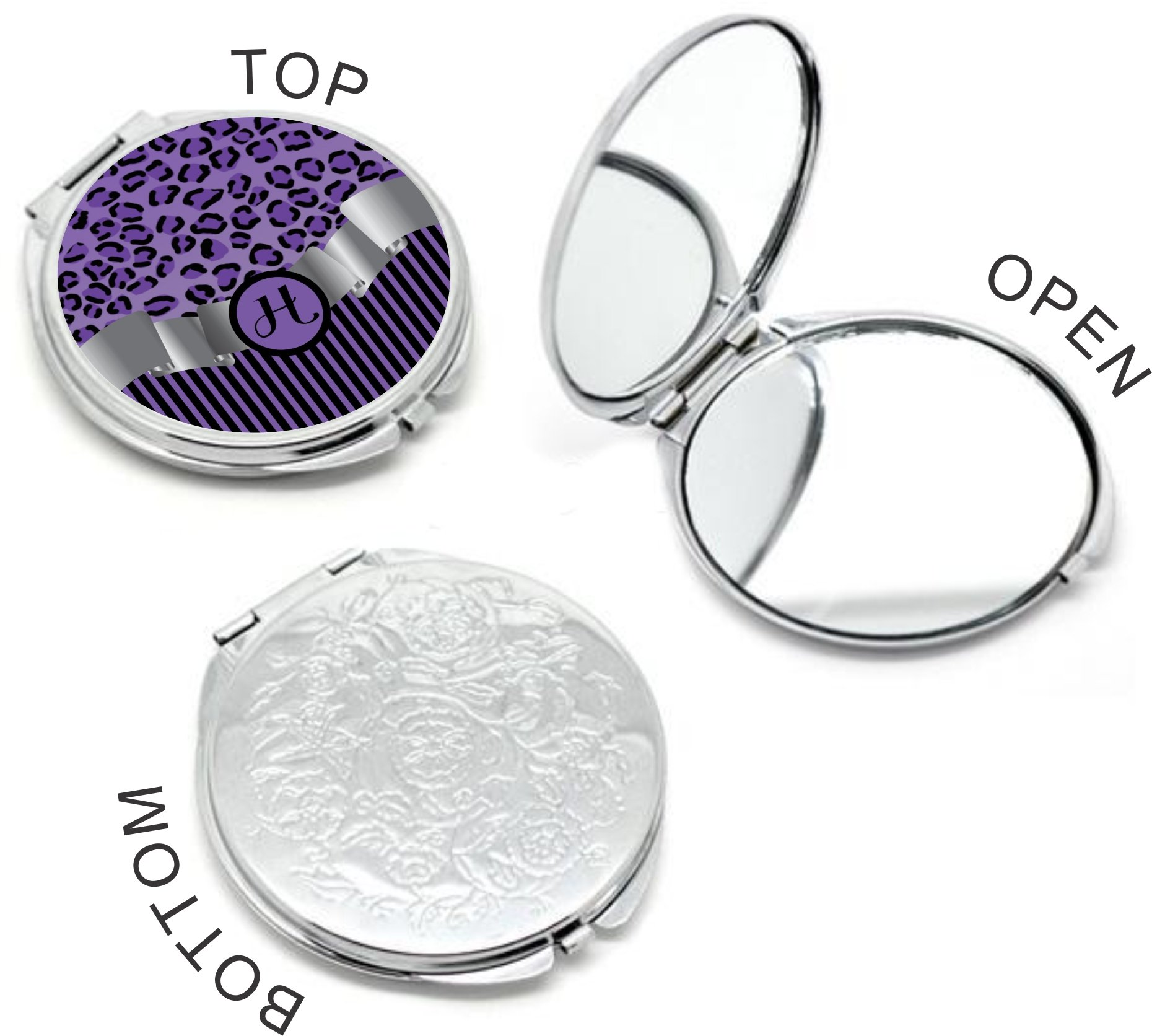 Rikki Knight Letter''H'' Purple Leopard Print Stripes Monogram Design Round Compact Mirror
