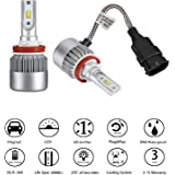 H8/H9/H11 LED Headlight Bulbs Conversion Kit 72W 7600LM 6000K Cool White for Car Halogen HID Xenon Replacement, Clear Bright Arc-Beam of Auto Headlamp W/ All-in-one Design-3 Yr Warranty(2PCS)
