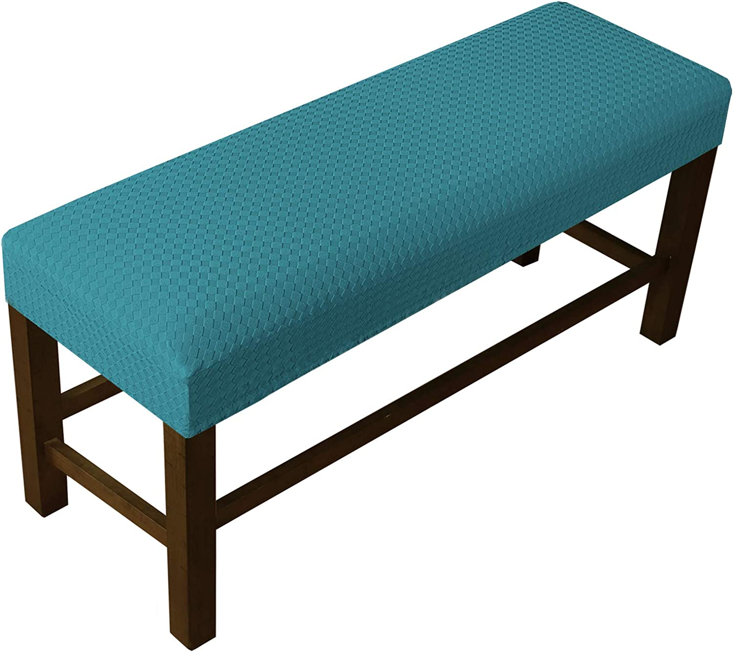 Stretch Bench Covers for Living Room Stretch Spandex Bench Slipcover Rectangle Removable Washable Bench Furniture Seat Protector (Medium, Peacock Blue)