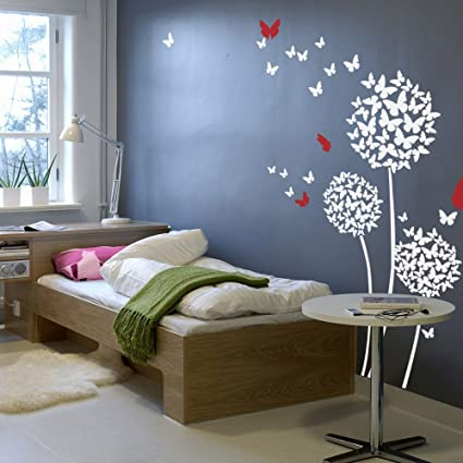 309febb003 Beautiful Butterflies Wall Decal Flowers Quotes Dandelions in the Wind Wall  Art Sticker Vinyl Living Room