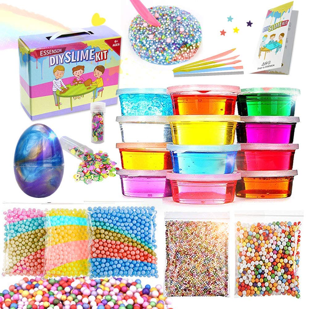 DIY Slime Making Kit (12 Color Set) - With Unicorn Charms, Colorful Crystals, and Fruity Slices - Craft Time Fun for Kids 6+ by IDL