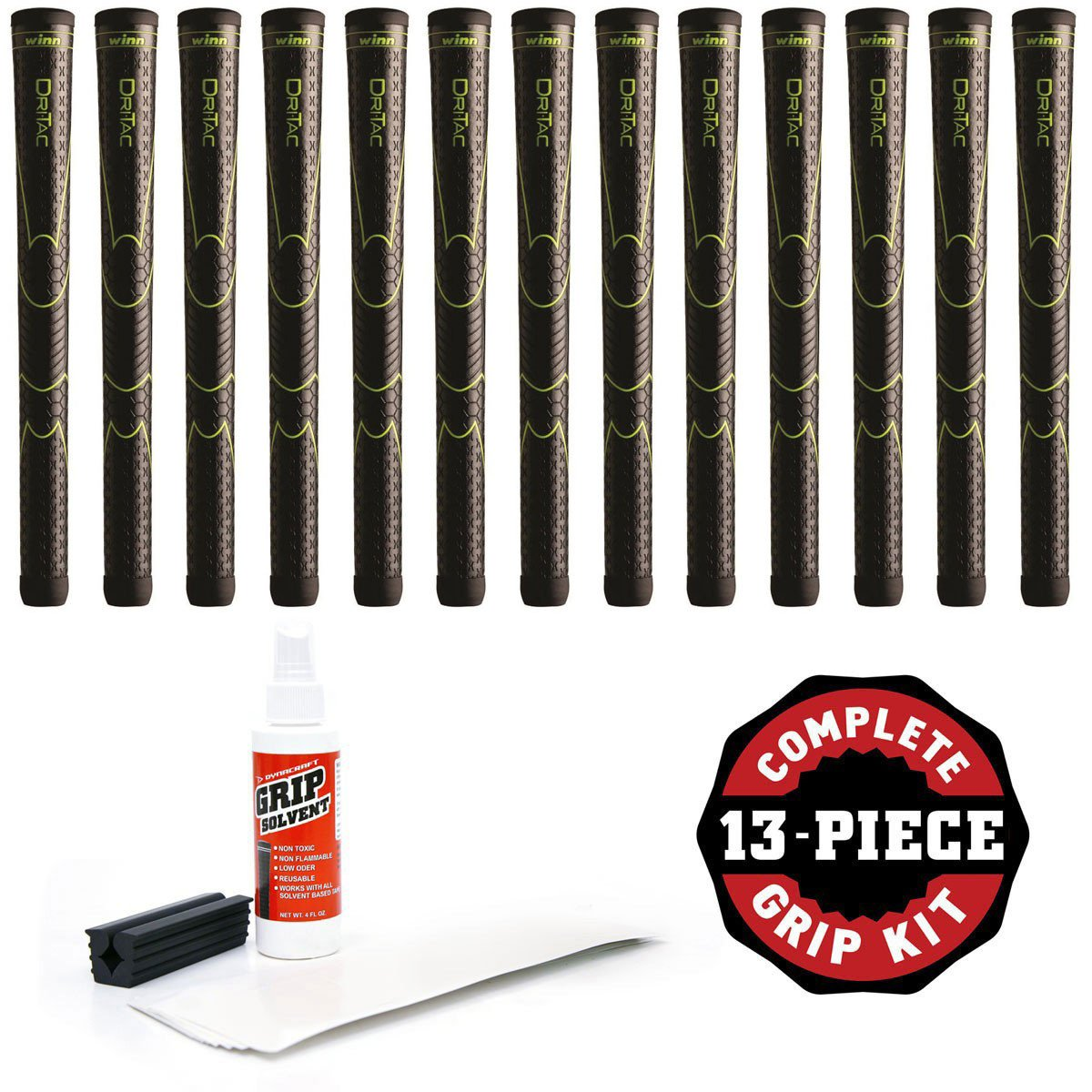 Winn Dri-Tac Oversize +1/8'' Black Golf Grip Kit With Tape Solvent Vise Clamp (13 Piece)