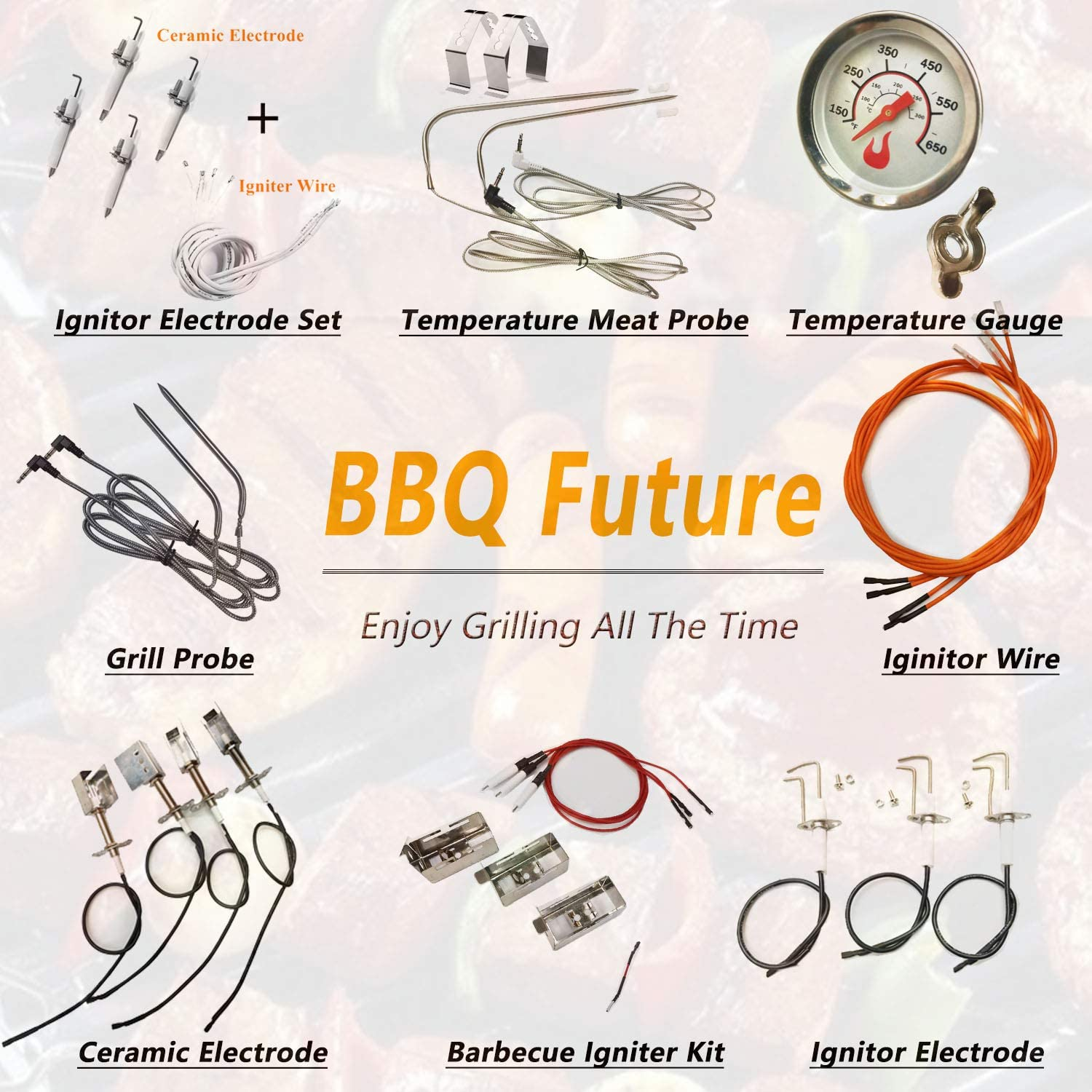 BBQ Future 4-Pack Ceramic Ignitor Electrode Replacement for Select Gas Grill Models by Kenmore Nexgrill Tera Gear and Others Members Mark