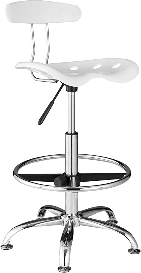 Merveilleux OneSpace Drafting Stool With Tractor Seat, White