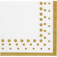 Creative Converting 317842 Sparkle and Shine Servilletas de papel dorado para almuerzo, 16,5 x 16,5 cm, color blanco y dorado