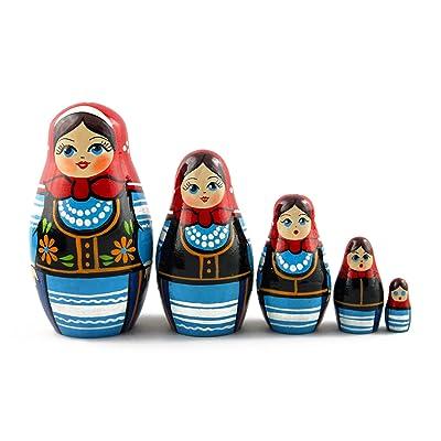 Matryoshka Matrioska Babuska Russian Nesting Wooden Doll Polish National Costume 5 Pcs Stacking Hand Painting Beautiful Nested Great Craft Matriosjka Matrioska Matreshka Matrjoska Matroeska: Toys & Games [5Bkhe1204115]
