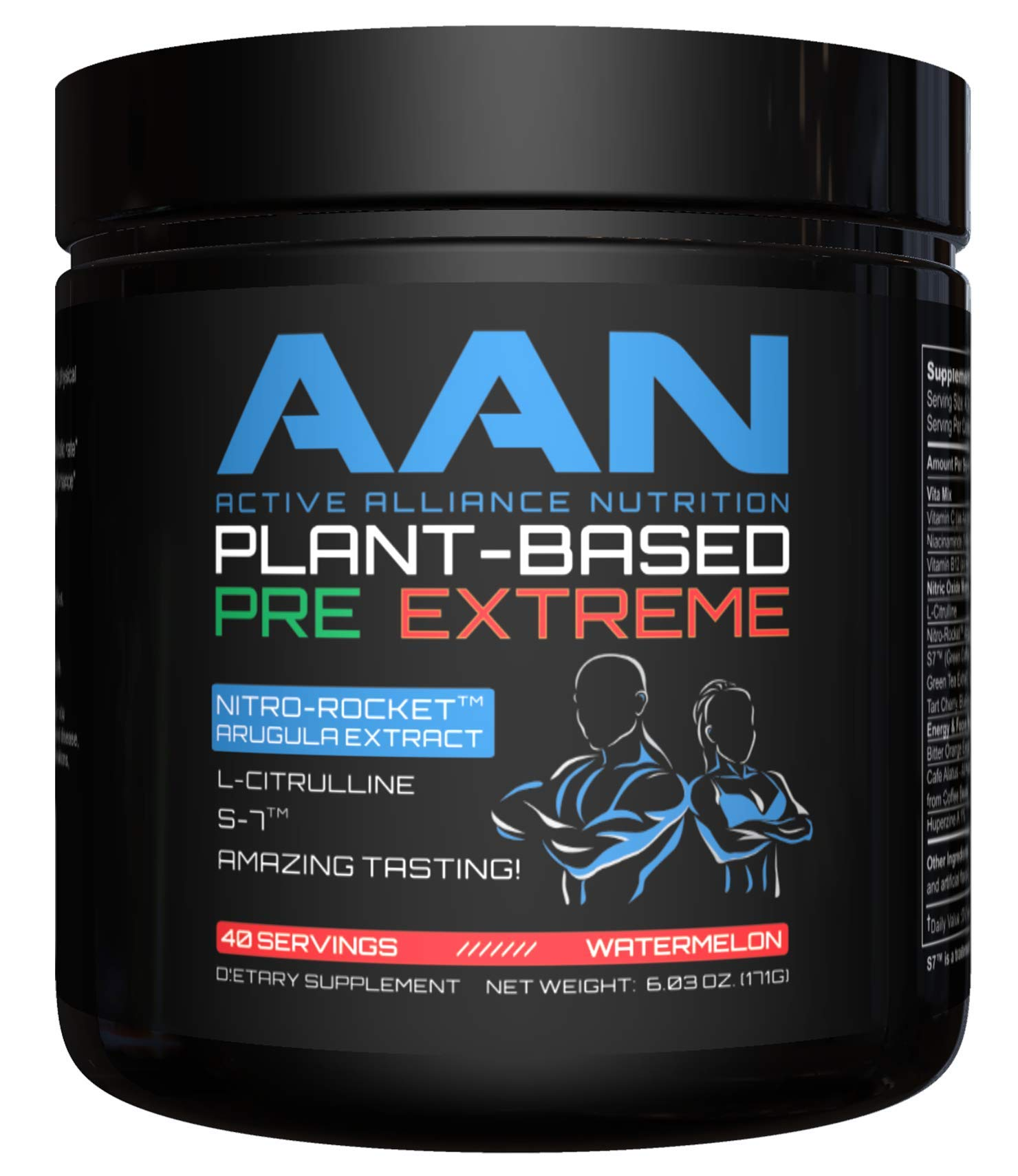 AAN Plant-Based Pre-Workout Extreme - 40 Servings (Watermelon Tea)
