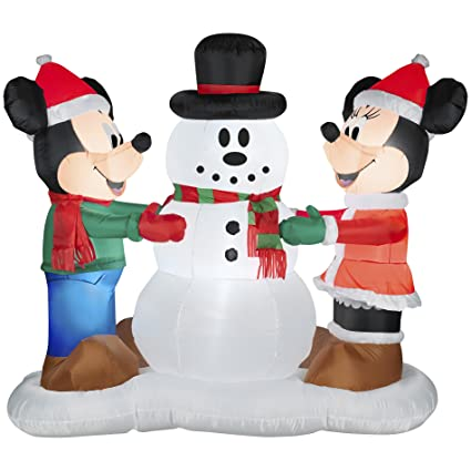 gemmy industries airblown mickey and minnie with snowman christmas decoration multicolored nylon - Mickey And Minnie Christmas Decorations