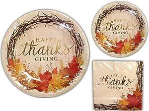 Happy Thanksgiving Disposable Dinnerware Set, Bundle Includes Service for 20: 20 Large Plates, 20 Dessert Plates, 30 Large Napkins