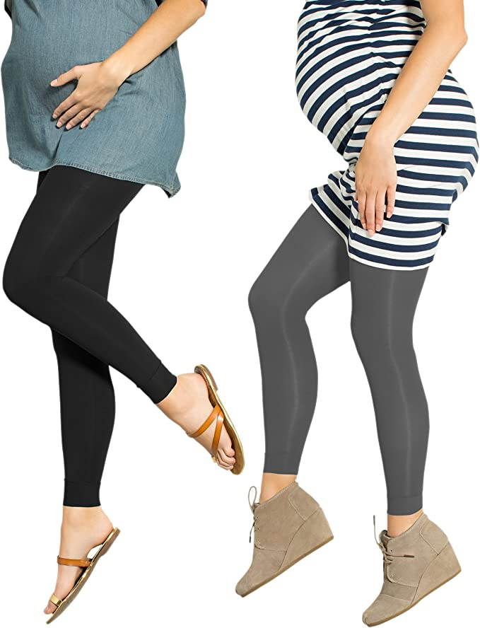 2 Pack Preggers 10-15mmhg Footless Maternity Compression Leggings