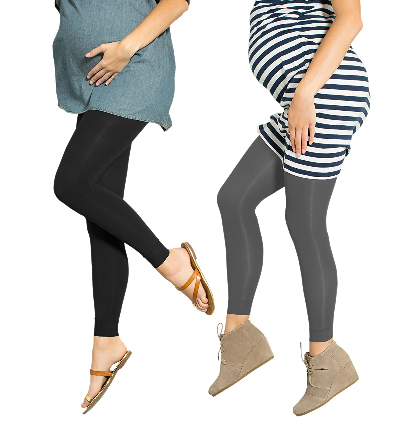 8f1ce65cc4cc6 2 Pack Preggers 10-15mmhg Footless Maternity Compression Leggings at Amazon Women's  Clothing store: