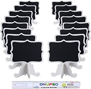 ONUPGO Mini Chalkboard Signs, 16 Pack Wooden White Framed Chalkboard Labels with Stand, Blackboard for Food Cards, Table Numbers…