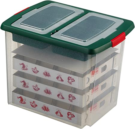 Caja para guardar adornos del árbol de Navidad - 45 Litros - para hasta 48 bolas -: Amazon.es: Hogar