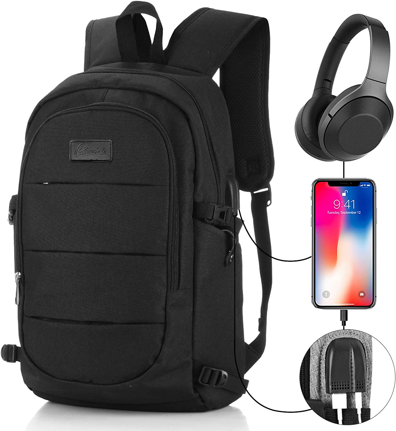 "Travel Laptop Backpack for Man&Women Anti-theft Business Computer Bag Waterproof Backpack with USB Charging Port & Headphone interface for College Student,Fits Under 17"" Laptop by Cafewich (Black)"
