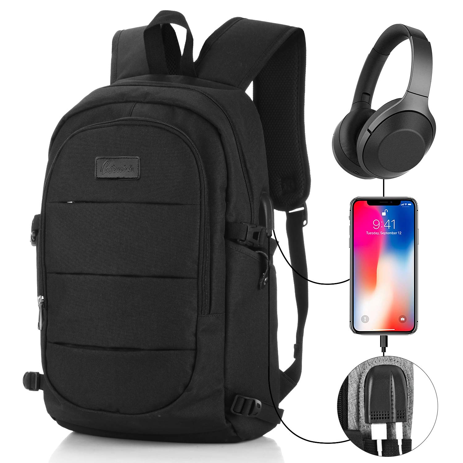 Travel Laptop Backpack for Man&Women Anti-Theft Business Computer Bag Waterproof Backpack with USB Charging Port & Headphone Interface for College Student,Fits Under 17'' Laptop by Cafewish (Black)