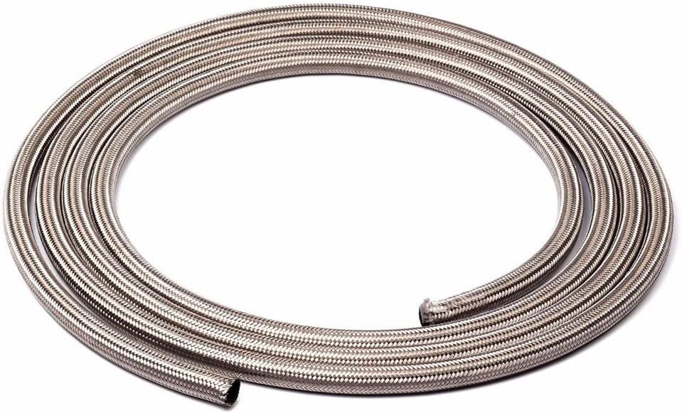 SUNROAD 4AN 10 Ft Universal Premium Braided Stainless Steel Fuel Line Filler Feed Hose Ends Kit,Silver