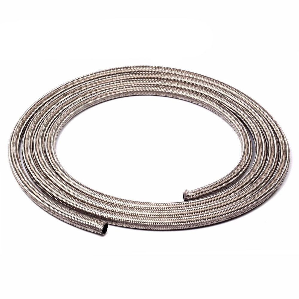 SUNROAD 6AN 20 Ft Universal Premium Braided Stainless Steel Fuel Line Filler Feed Hose Ends Kit,Silver