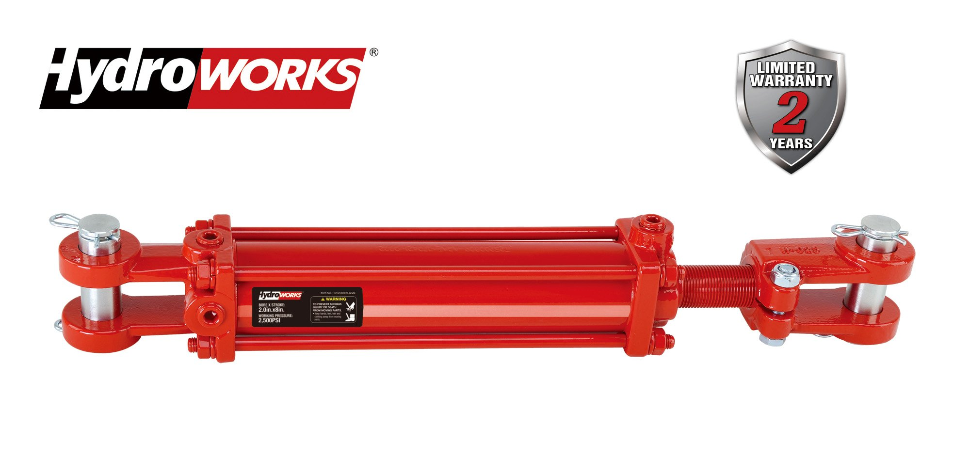 HYDROWORKS Double Acting Tie Rod Hydraulic Cylinder, 2500 PSI (2.5'' Bore/ 8'' Stroke - ASAE)