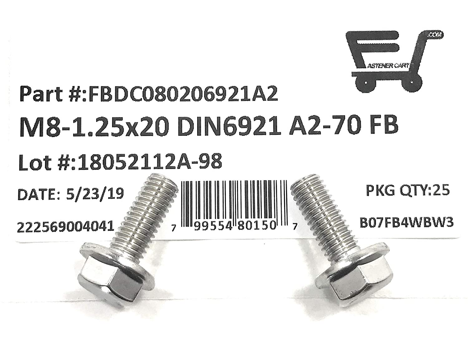 25 Pieces M8-1.25 x 20 Stainless Steel Flange Bolt DIN 6921 A2 Stainless Steel M8x20