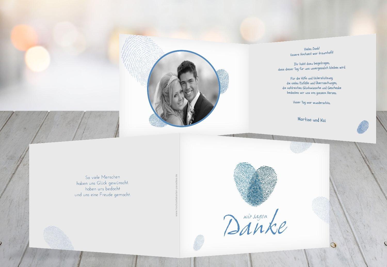 Kartenparadies Danksagung für Hochzeitsgeschenke Hochzeit Dankeskarte fingerprint, hochwertige Danksagungskarte Hochzeitsglückwünsche inklusive Umschläge   20 Karten - (Format  148x105 mm) Farbe  Grau B01N36BD6O | Große Klassifizierung