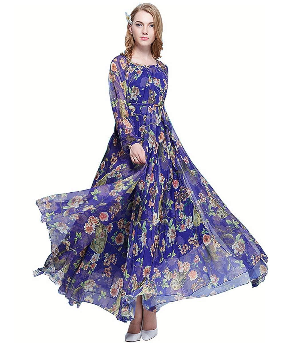 Medeshe Womens Summer Floral Long Beach Maxi Dress Lightweight Sundress