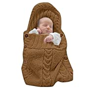 XMWEALTHY Newborn Baby Wrap Swaddle Blanket Knit Sleeping Bag Sleep Sack Stroller Wrap for Baby(Coffee) (0-6 Month)