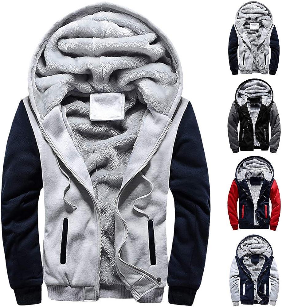 Mens Jacket Zip Up Fleece Hoodies Winter Warm Coat Thickened Plushy Lining Sweatshirts Mens Hoodie