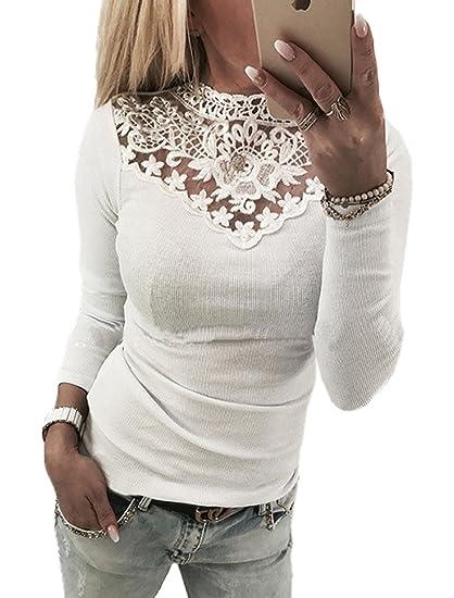 Jinglive Mujer Elegante Slim Fit Camisetas Moda Encaje Costura Cuello Redondo Blusa Remata Sólido Suave y