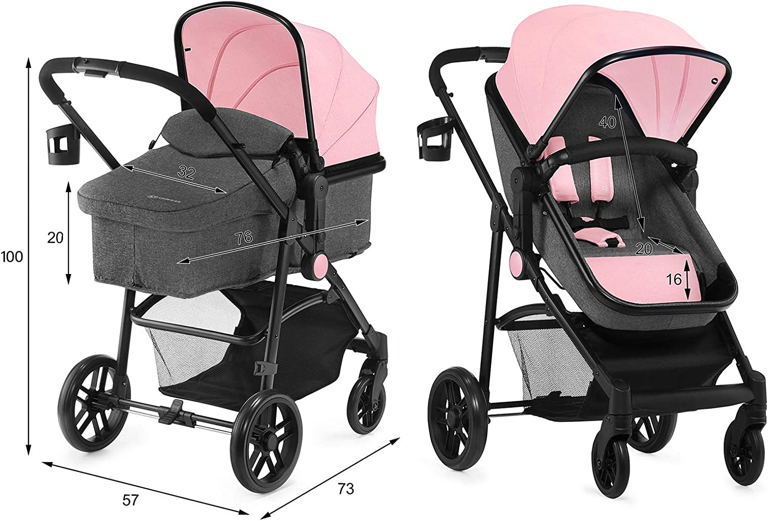 0-13 Kg Kinderkraft Pram 2 in 1 Set Juli with Carrycot Accessories Pink Rear or Front Facing Footmuff Travel System Foldable from Birth to 3 Years Buggy Baby Pushchair Rain Cover