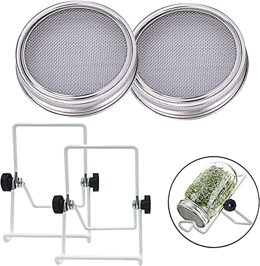 2 Pcs Stainless Steel Sprouting Jar Lids with 2 Pcs Stainless Steel Sprouting Stands for Regular//Wide Mouth Mason Jar