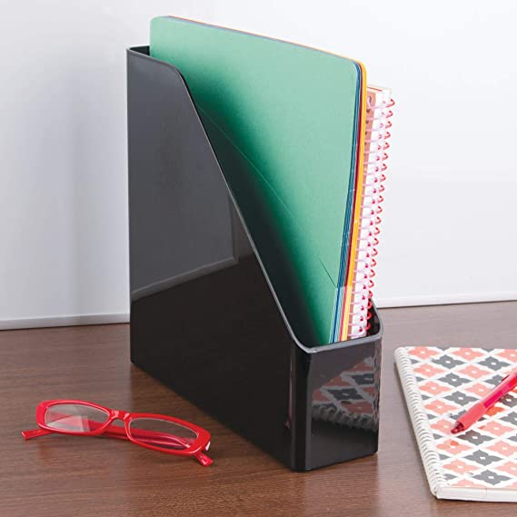 Amazon.com : mDesign Plastic File Folder Bin Storage Organizer - Vertical with Handle - Holds Notebooks, Binders, Envelopes, Magazines - Container for Home ...