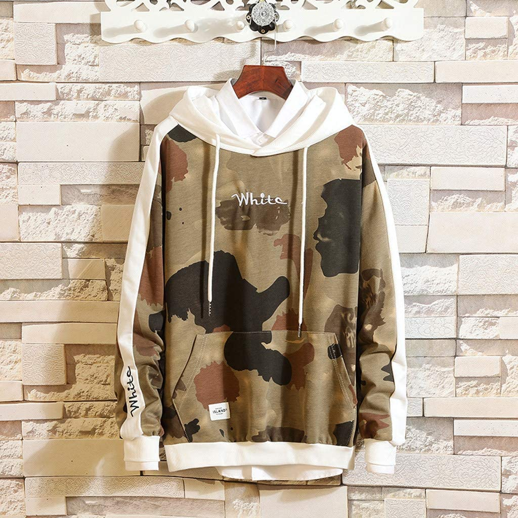 Mens Casual Loose Camouflage Hoodie Long Sleeve Tracksuit Tops Sweatshirts with Pocket for Autumn