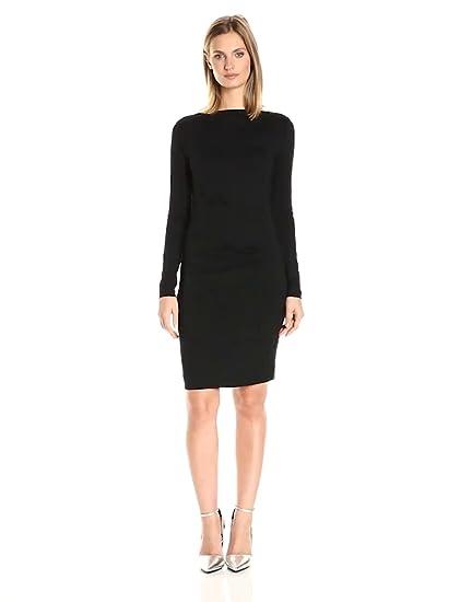 Nicole Miller Womens Quinn Solid Jersey Long Sleeve Tuck Dress