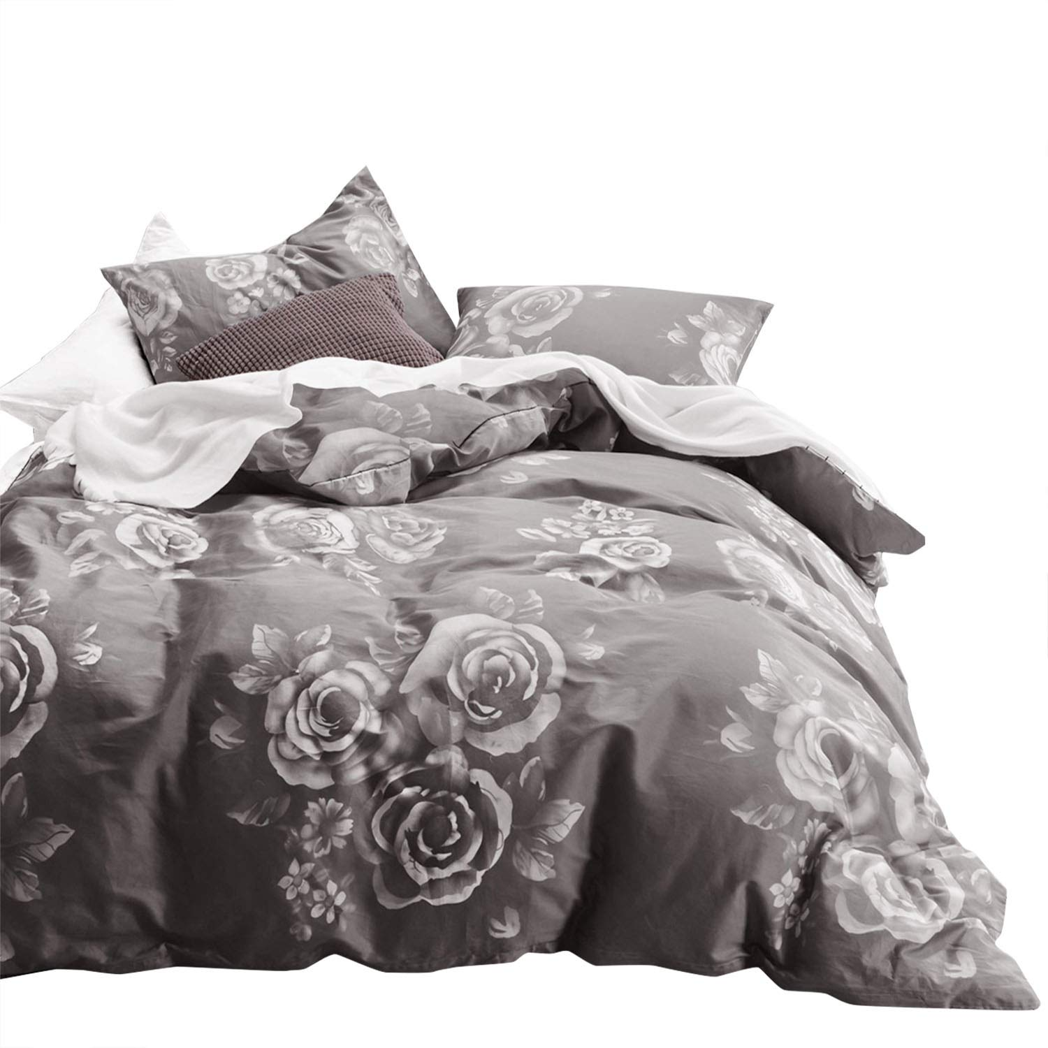 Wake In Cloud - Gray Floral Duvet Cover Set, 100% Cotton Bedding, White Rose Flowers Pattern Printed on Dark Grey, with Zipper Closure (3pcs, King Size)